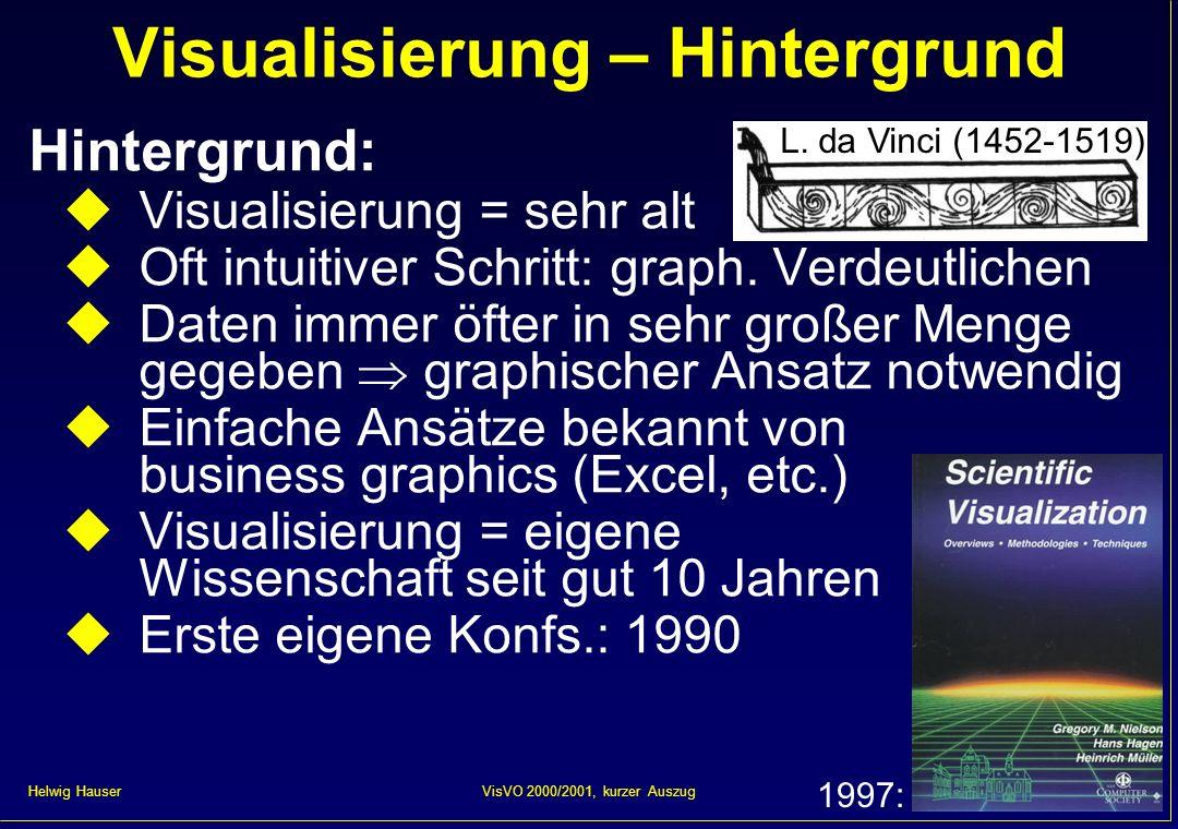 Helwig Hauser 64VisVO 2000/2001, kurzer Auszug Visualisierung mit Partikel Partikelbahnen = Strömungslinien Varianten (time- dependent data): streak lines: immer neue Partikel los- lassen path lines: Langzeitweg eines Partikels
