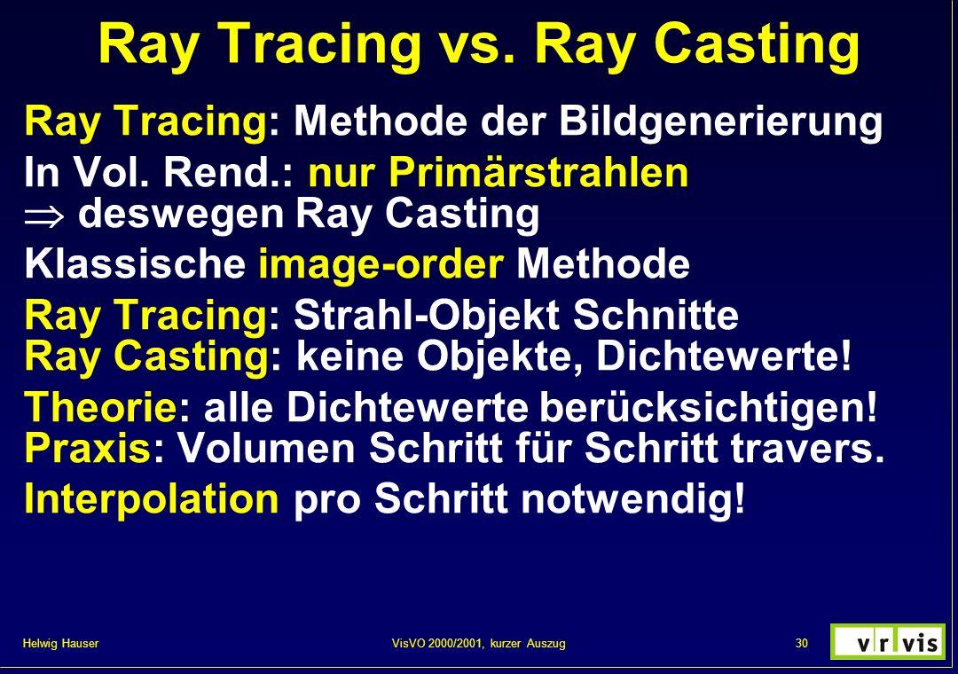 Helwig Hauser 30VisVO 2000/2001, kurzer Auszug Ray Tracing vs. Ray Casting Ray Tracing: Methode der Bildgenerierung In Vol. Rend.: nur Primärstrahlen