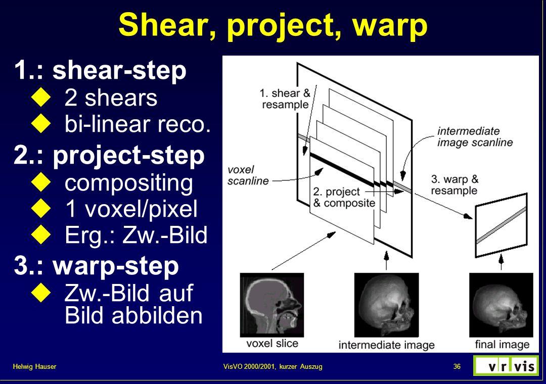Helwig Hauser 36VisVO 2000/2001, kurzer Auszug Shear, project, warp 1.: shear-step 2 shears bi-linear reco. 2.: project-step compositing 1 voxel/pixel