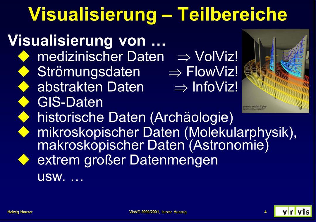 Helwig Hauser 45VisVO 2000/2001, kurzer Auszug Strömungsvisualisierung Einleitung: FlowViz = Visualisierung von Strömungen Visualisierung von Änderungsinformation Normal: mehr als 3 Daten-Dimensionen Allgemeiner Überblick: noch schwieriger Strömungsdaten: nD nD Daten, 1D 2 /2D 2 /nD 2 (Modelle), 2D 2 /3D 2 (Simulationen, Messungen) Vektorielle Daten (nD) im nD Datenraum User goals: Überblick vs.