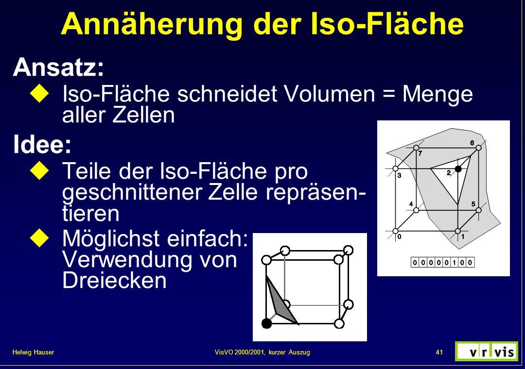 Helwig Hauser 41VisVO 2000/2001, kurzer Auszug Annäherung der Iso-Fläche Ansatz: Iso-Fläche schneidet Volumen = Menge aller Zellen Idee: Teile der Iso