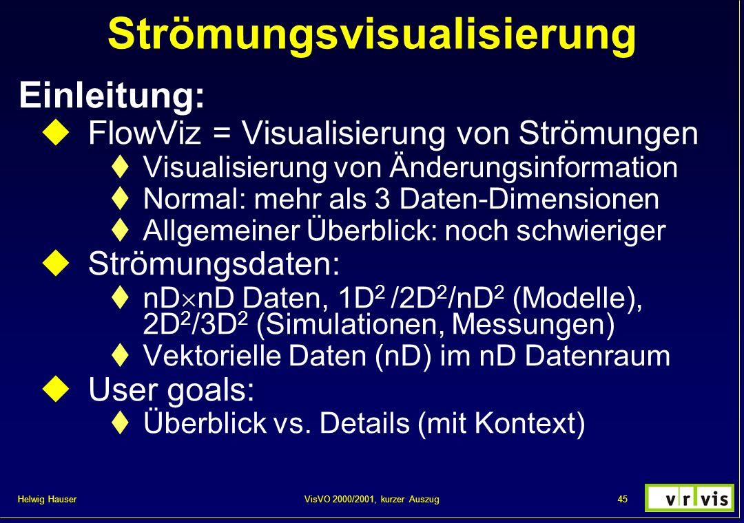 Helwig Hauser 45VisVO 2000/2001, kurzer Auszug Strömungsvisualisierung Einleitung: FlowViz = Visualisierung von Strömungen Visualisierung von Änderung