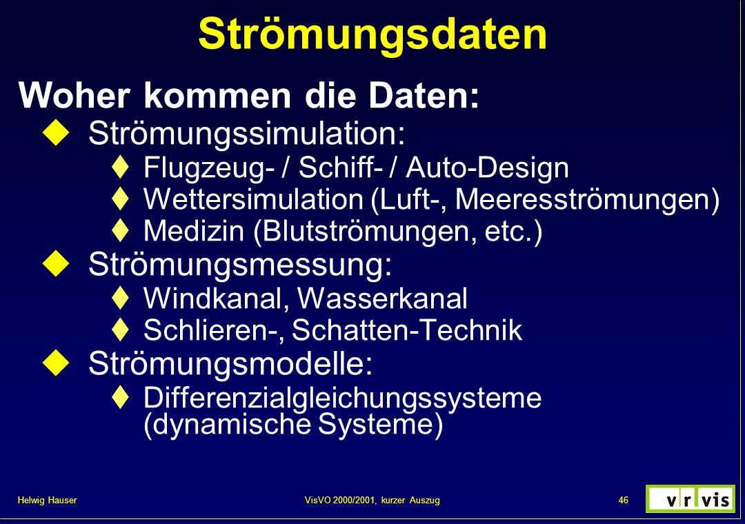 Helwig Hauser 46VisVO 2000/2001, kurzer Auszug Strömungsdaten Woher kommen die Daten: Strömungssimulation: Flugzeug- / Schiff- / Auto-Design Wettersim