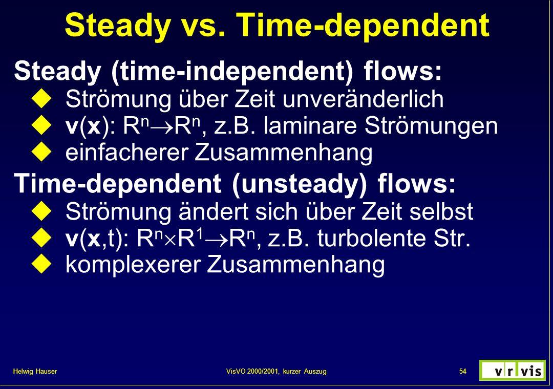 Helwig Hauser 54VisVO 2000/2001, kurzer Auszug Steady vs. Time-dependent Steady (time-independent) flows: Strömung über Zeit unveränderlich v(x): R n
