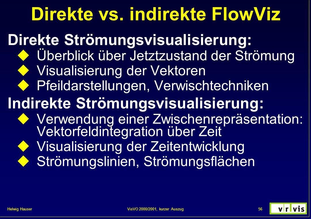 Helwig Hauser 56VisVO 2000/2001, kurzer Auszug Direkte vs. indirekte FlowViz Direkte Strömungsvisualisierung: Überblick über Jetztzustand der Strömung