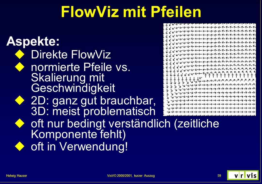 Helwig Hauser 59VisVO 2000/2001, kurzer Auszug FlowViz mit Pfeilen Aspekte: Direkte FlowViz normierte Pfeile vs. Skalierung mit Geschwindigkeit 2D: ga