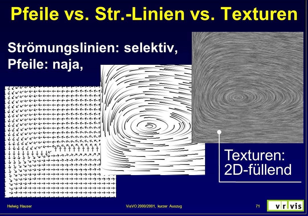 Helwig Hauser 71VisVO 2000/2001, kurzer Auszug Pfeile vs. Str.-Linien vs. Texturen Strömungslinien: selektiv, Pfeile: naja, Texturen: 2D-füllend