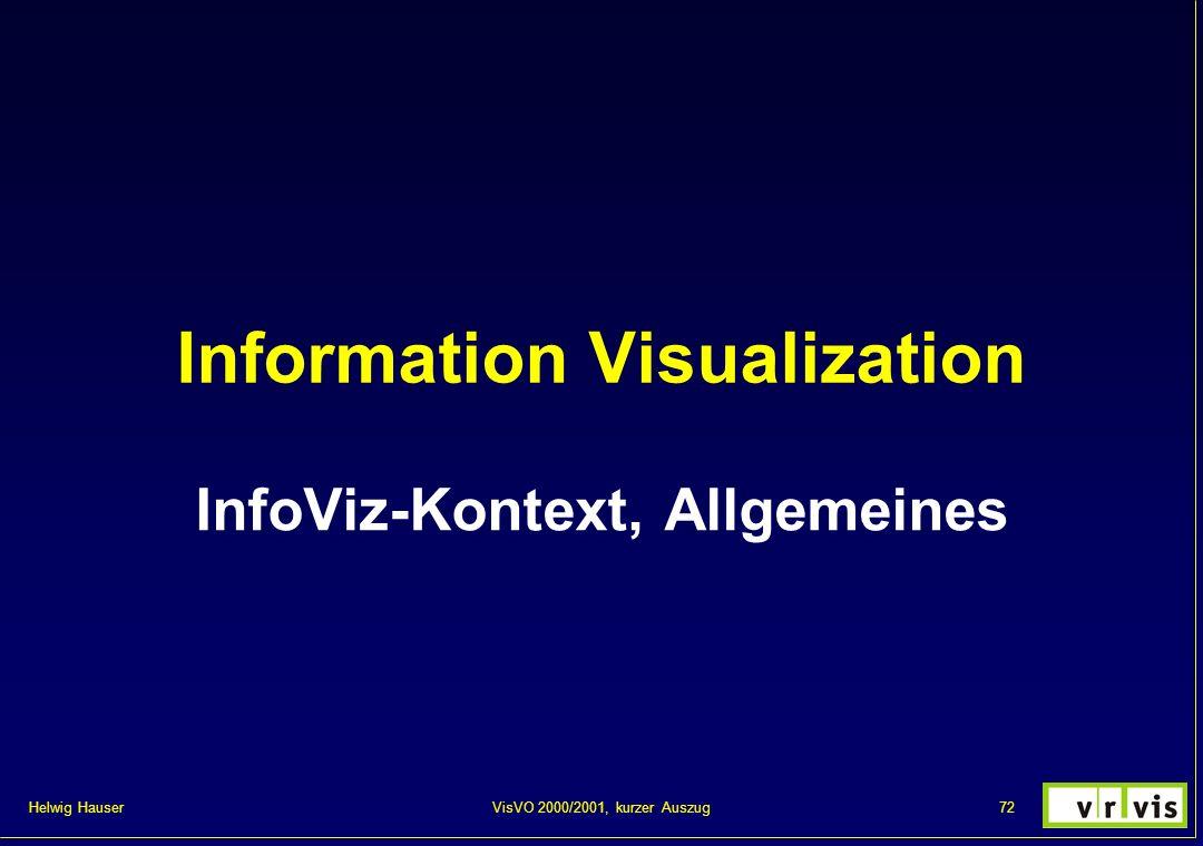 Helwig Hauser 72VisVO 2000/2001, kurzer Auszug Information Visualization InfoViz-Kontext, Allgemeines