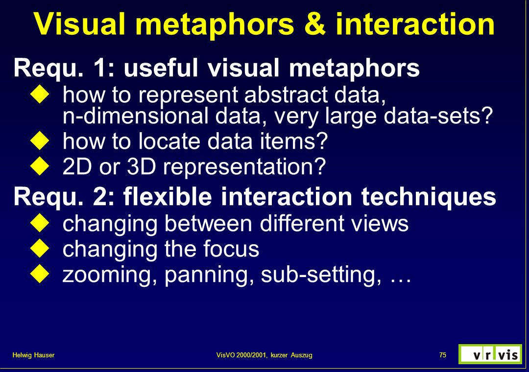 Helwig Hauser 75VisVO 2000/2001, kurzer Auszug Visual metaphors & interaction Requ. 1: useful visual metaphors how to represent abstract data, n-dimen