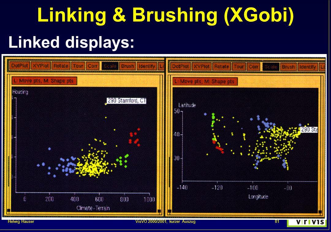 Helwig Hauser 81VisVO 2000/2001, kurzer Auszug Linking & Brushing (XGobi) Linked displays: