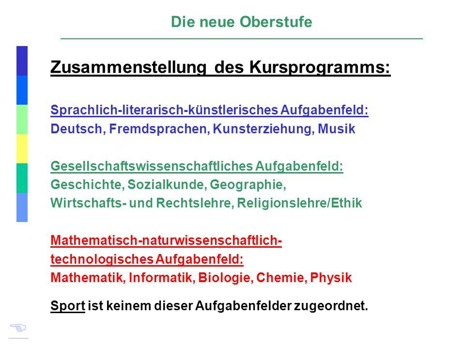 Zusammenstellung des Kursprogramms: Die neue Oberstufe Sprachlich-literarisch-künstlerisches Aufgabenfeld: Deutsch, Fremdsprachen, Kunsterziehung, Mus