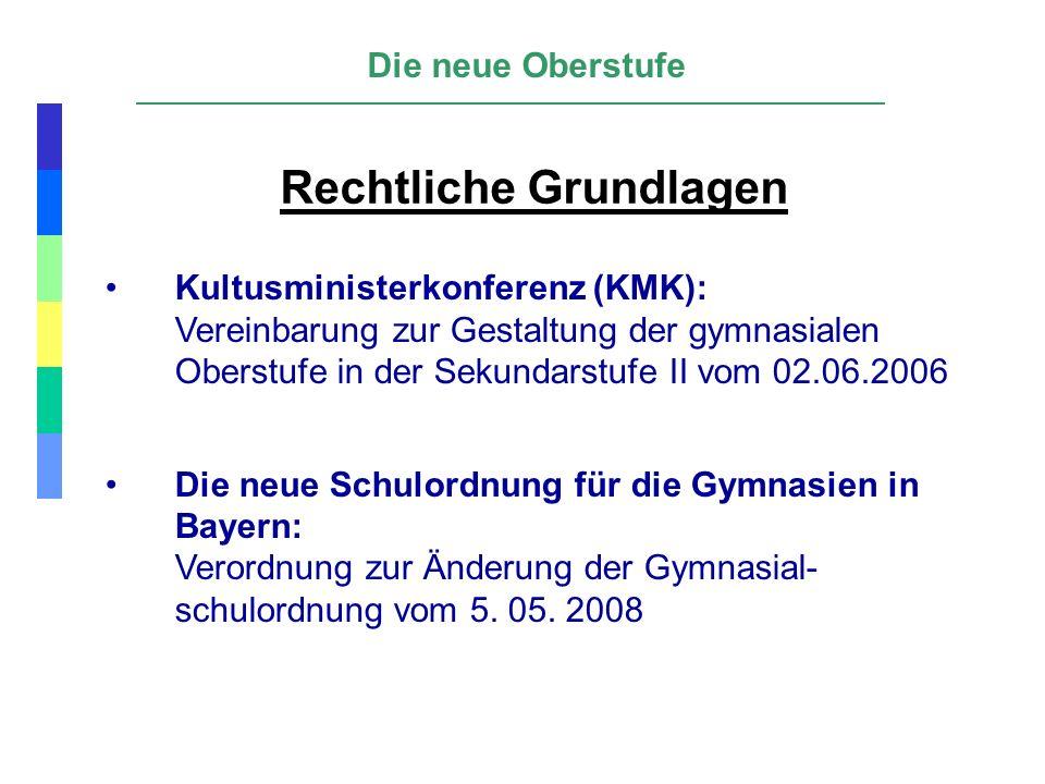 Rechtliche Grundlagen Kultusministerkonferenz (KMK): Vereinbarung zur Gestaltung der gymnasialen Oberstufe in der Sekundarstufe II vom 02.06.2006 Die