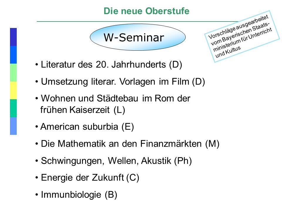 Die neue Oberstufe W-Seminar Literatur des 20. Jahrhunderts (D) Umsetzung literar. Vorlagen im Film (D) Wohnen und Städtebau im Rom der frühen Kaiserz