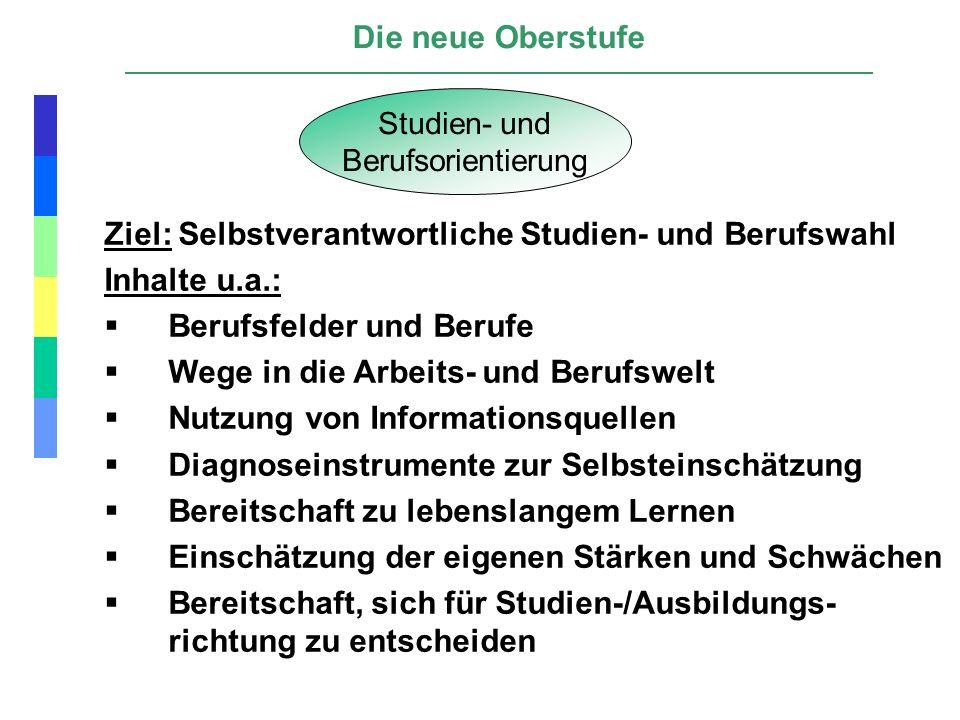 Die neue Oberstufe Studien- und Berufsorientierung Ziel: Selbstverantwortliche Studien- und Berufswahl Inhalte u.a.: Berufsfelder und Berufe Wege in d