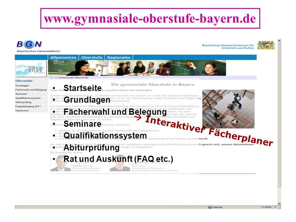 www.gymnasiale-oberstufe-bayern.de Startseite Grundlagen Fächerwahl und Belegung Seminare Qualifikationssystem Abiturprüfung Rat und Auskunft (FAQ etc