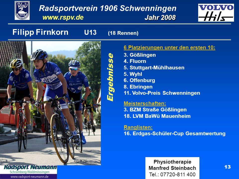 Radsportverein 1906 Schwenningen Jahr 2008 www.rspv.de Physiotherapie Manfred Steinbach Tel.: 07720-811 400 13 Filipp Firnkorn U13 (18 Rennen) 6 Platzierungen unter den ersten 10: Ergebnisse Meisterschaften: 3.