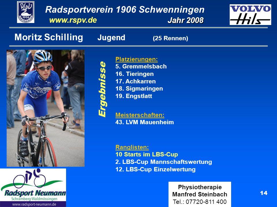 Radsportverein 1906 Schwenningen Jahr 2008 www.rspv.de Physiotherapie Manfred Steinbach Tel.: 07720-811 400 14 Moritz Schilling Jugend (25 Rennen) Ergebnisse Platzierungen: 5.