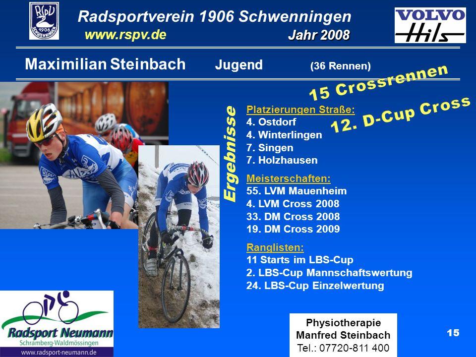 Radsportverein 1906 Schwenningen Jahr 2008 www.rspv.de Physiotherapie Manfred Steinbach Tel.: 07720-811 400 15 Maximilian Steinbach Jugend (36 Rennen) Ergebnisse Platzierungen Straße: 4.