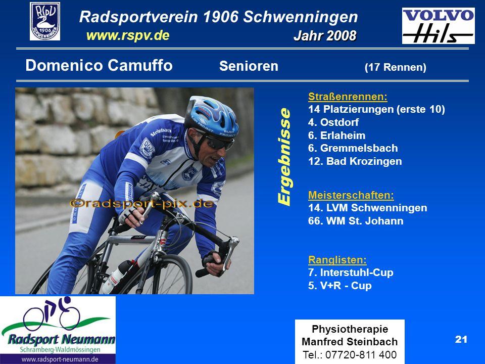 Radsportverein 1906 Schwenningen Jahr 2008 www.rspv.de Physiotherapie Manfred Steinbach Tel.: 07720-811 400 21 Domenico Camuffo Senioren (17 Rennen) Straßenrennen: 14 Platzierungen (erste 10) 4.