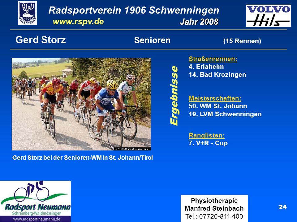 Radsportverein 1906 Schwenningen Jahr 2008 www.rspv.de Physiotherapie Manfred Steinbach Tel.: 07720-811 400 24 Gerd Storz Senioren (15 Rennen) Straßenrennen: 4.