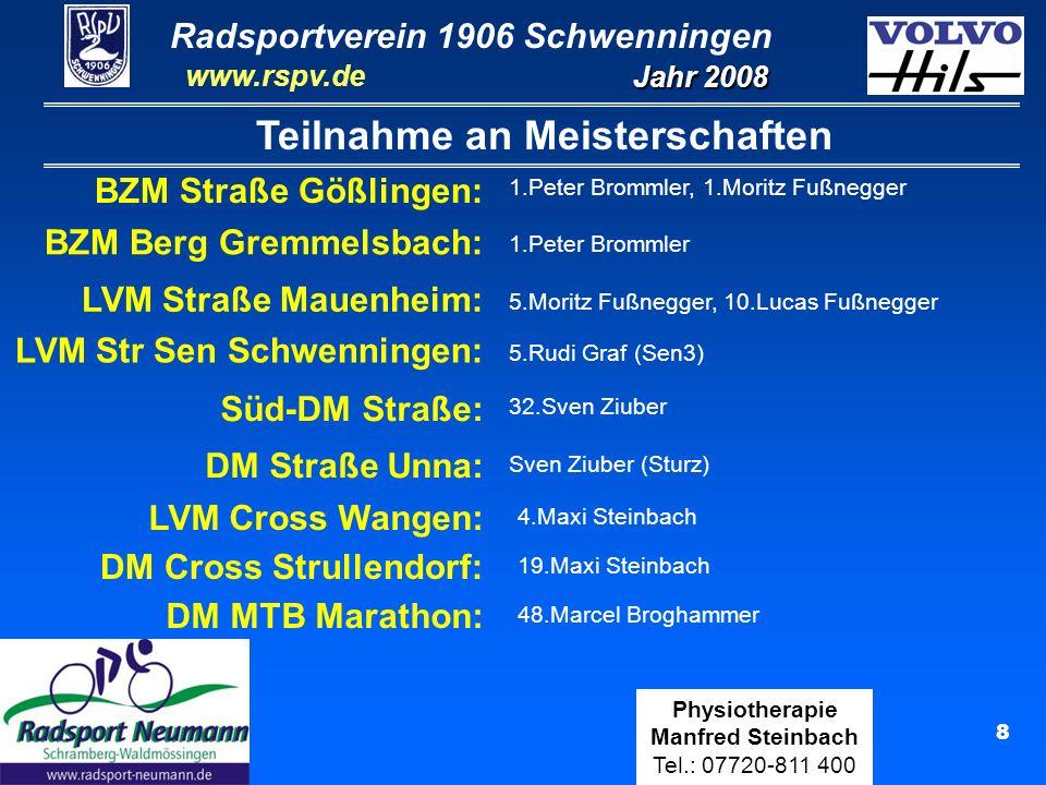 Radsportverein 1906 Schwenningen Jahr 2008 www.rspv.de Physiotherapie Manfred Steinbach Tel.: 07720-811 400 19 Peter Brommler Elite A (19 Rennen) Elite A-Fahrer Ergebnisse Aufstieg in A-Klasse: Zweimaliger Aufstieg von C- in A-Klasse nach den Siegen in Heilbronn u.