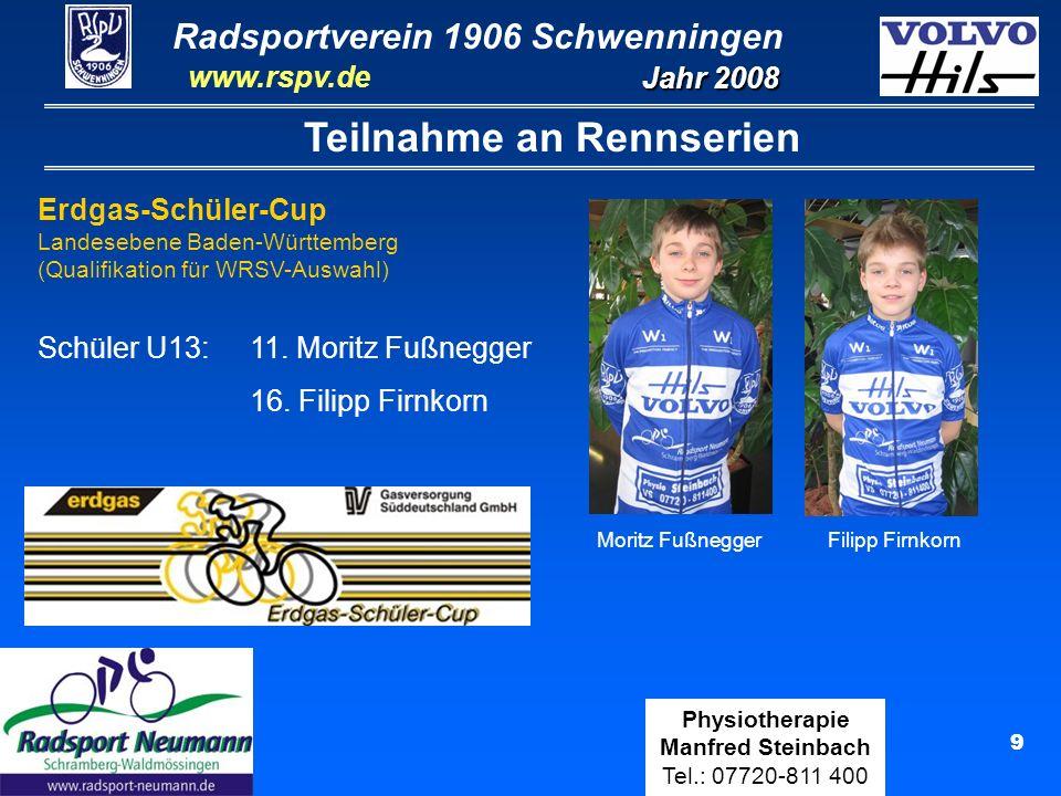 Radsportverein 1906 Schwenningen Jahr 2008 www.rspv.de Physiotherapie Manfred Steinbach Tel.: 07720-811 400 10 Teilnahme an Rennserien LBS-Cup Jugend Vereinsmannschaft RSpV Schwenningen Moritz Schilling, Sven Ziuber, Maxi Steinbach, Lucas Fußnegger Gesamt-Einzelwertung: 1.