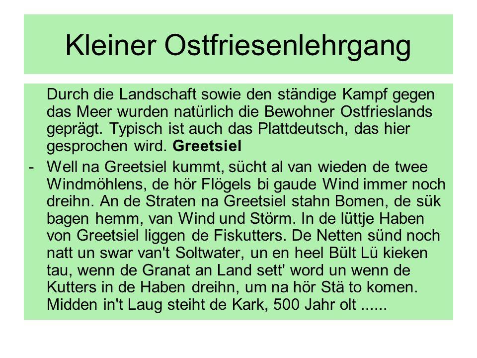 Kleiner Ostfriesenlehrgang Durch die Landschaft sowie den ständige Kampf gegen das Meer wurden natürlich die Bewohner Ostfrieslands geprägt. Typisch i