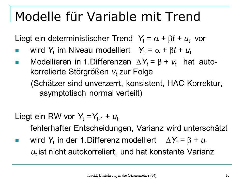 Hackl, Einführung in die Ökonometrie (14) 10 Modelle für Variable mit Trend Liegt ein deterministischer Trend Y t = + t + u t vor wird Y t im Niveau m