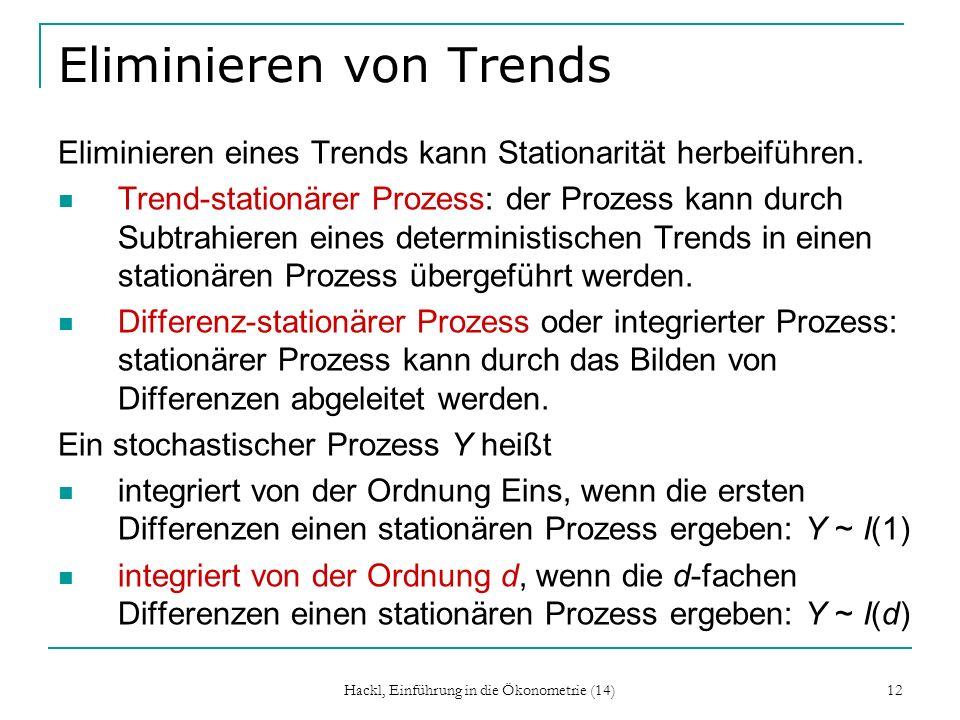 Hackl, Einführung in die Ökonometrie (14) 12 Eliminieren von Trends Eliminieren eines Trends kann Stationarität herbeiführen. Trend-stationärer Prozes