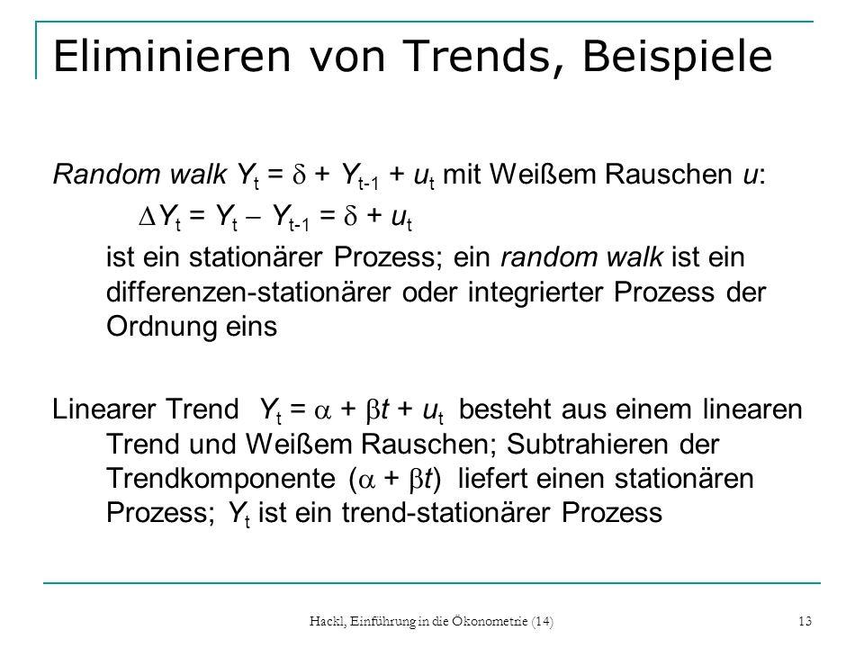 Hackl, Einführung in die Ökonometrie (14) 13 Eliminieren von Trends, Beispiele Random walk Y t = + Y t-1 + u t mit Weißem Rauschen u: Y t = Y t Y t-1
