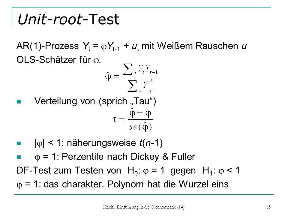 Hackl, Einführung in die Ökonometrie (14) 15 Unit-root-Test AR(1)-Prozess Y t = Y t-1 + u t mit Weißem Rauschen u OLS-Schätzer für Verteilung von (spr