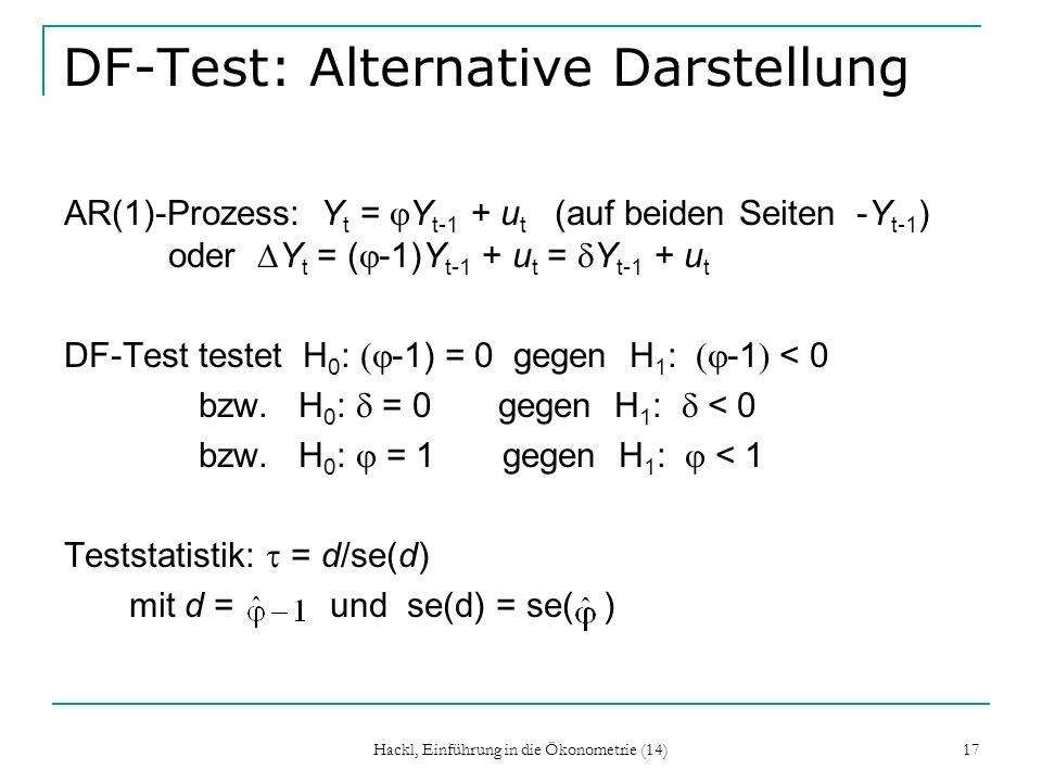Hackl, Einführung in die Ökonometrie (14) 17 DF-Test: Alternative Darstellung AR(1)-Prozess: Y t = Y t-1 + u t (auf beiden Seiten -Y t-1 ) oder Y t =