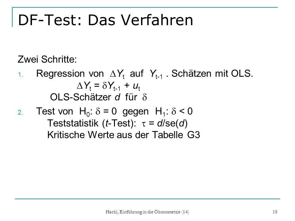 Hackl, Einführung in die Ökonometrie (14) 18 DF-Test: Das Verfahren Zwei Schritte: 1. Regression von Y t auf Y t-1. Schätzen mit OLS. Y t = Y t-1 + u