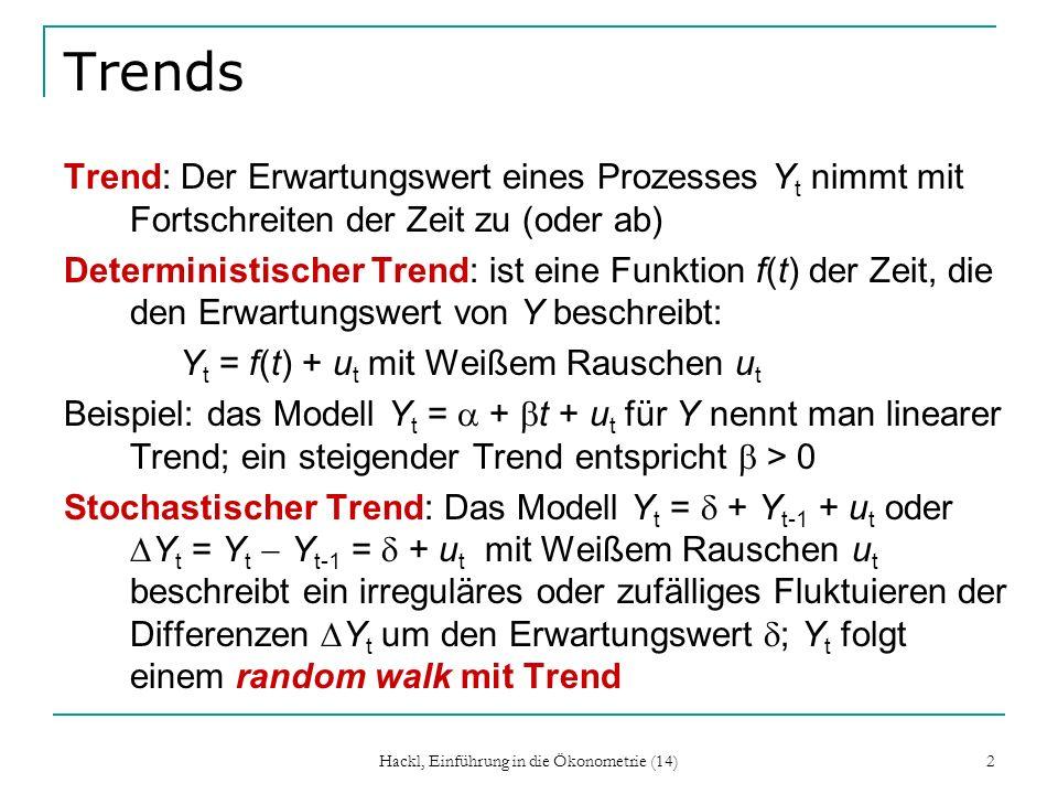 Hackl, Einführung in die Ökonometrie (14) 13 Eliminieren von Trends, Beispiele Random walk Y t = + Y t-1 + u t mit Weißem Rauschen u: Y t = Y t Y t-1 = + u t ist ein stationärer Prozess; ein random walk ist ein differenzen-stationärer oder integrierter Prozess der Ordnung eins Linearer Trend Y t = + t + u t besteht aus einem linearen Trend und Weißem Rauschen; Subtrahieren der Trendkomponente ( + t) liefert einen stationären Prozess; Y t ist ein trend-stationärer Prozess