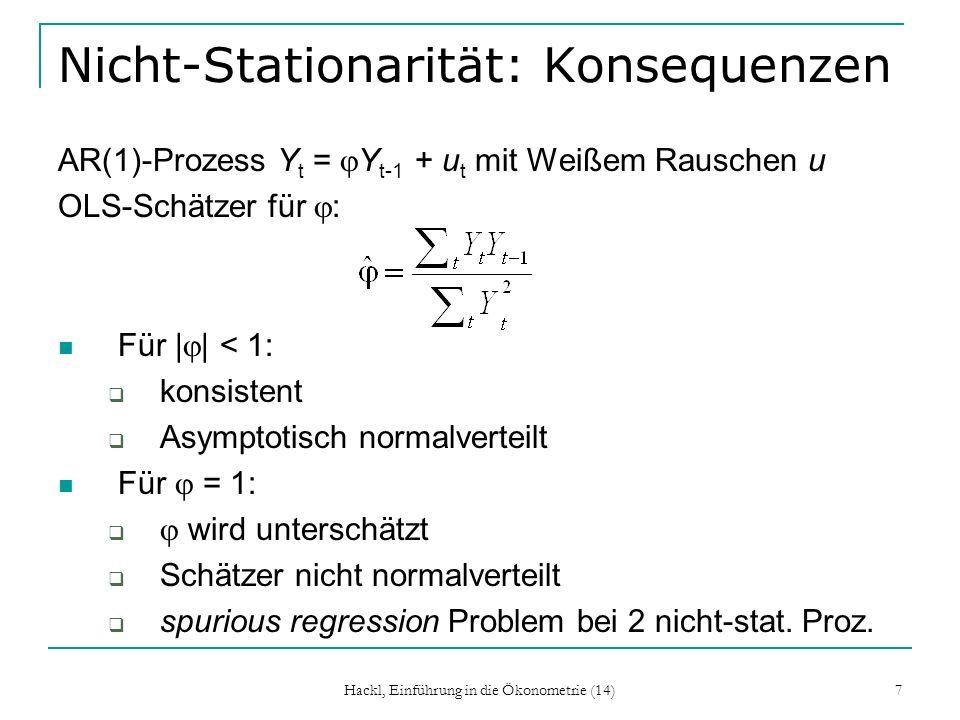 Hackl, Einführung in die Ökonometrie (14) 8 Spurious Regression Y t sei ein random walk ohne Drift (wahres Modell): Y t =Y t-1 + u t mit Weißem Rauschen u Y t ist ein nicht-stationärer Prozess; stochastischer Trend Varianz von Y t ist Vielfaches von t wird modelliert als (misspezifiziertes) Modell: Y t = + t + v t Deterministischer Trend Konstante Fehlervarianz Was kann für den OLS-Schätzer für erwartet werden?