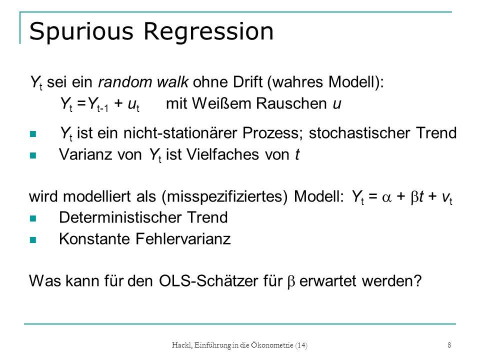 Hackl, Einführung in die Ökonometrie (14) 19 DF-Test: Erweiterungen DF-Test für Modell mit Interzept: Y t = + Y t-1 + u t DF-Test für Modell mit Interzept und Trend: Y t = + t + Y t-1 + u t DF-Test testet H 0 : = 0 gegen H 1 : < 0 Teststatistik: = d/se(d) (Modell mit Interzept) = d/se(d) (Modell mit Interzept u Trend) Kritische Werte aus Tabelle G3.