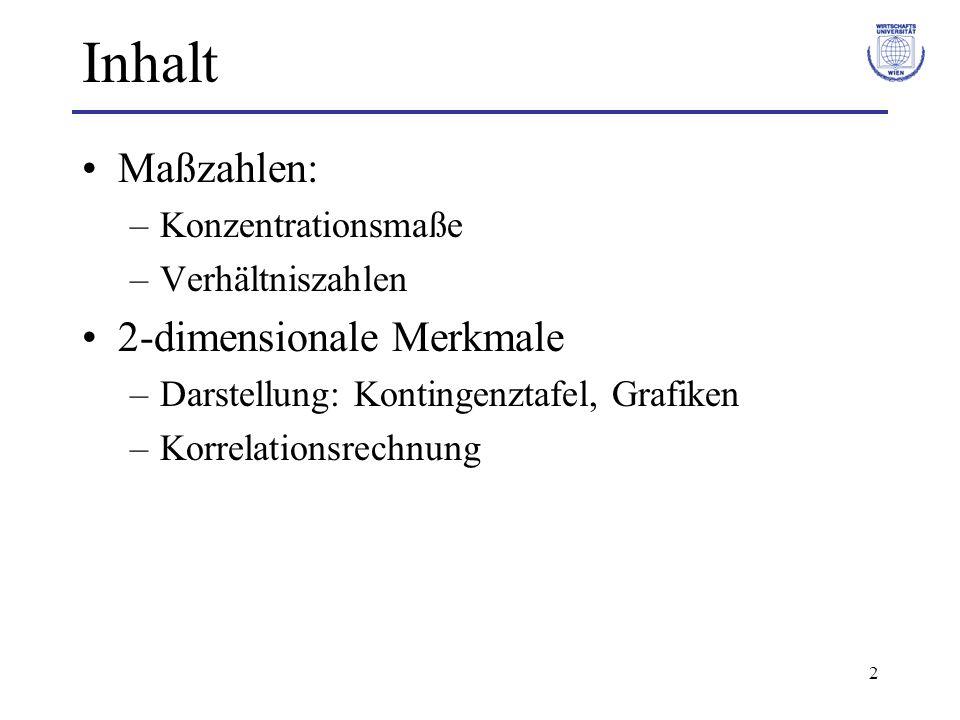 2 Inhalt Maßzahlen: –Konzentrationsmaße –Verhältniszahlen 2-dimensionale Merkmale –Darstellung: Kontingenztafel, Grafiken –Korrelationsrechnung