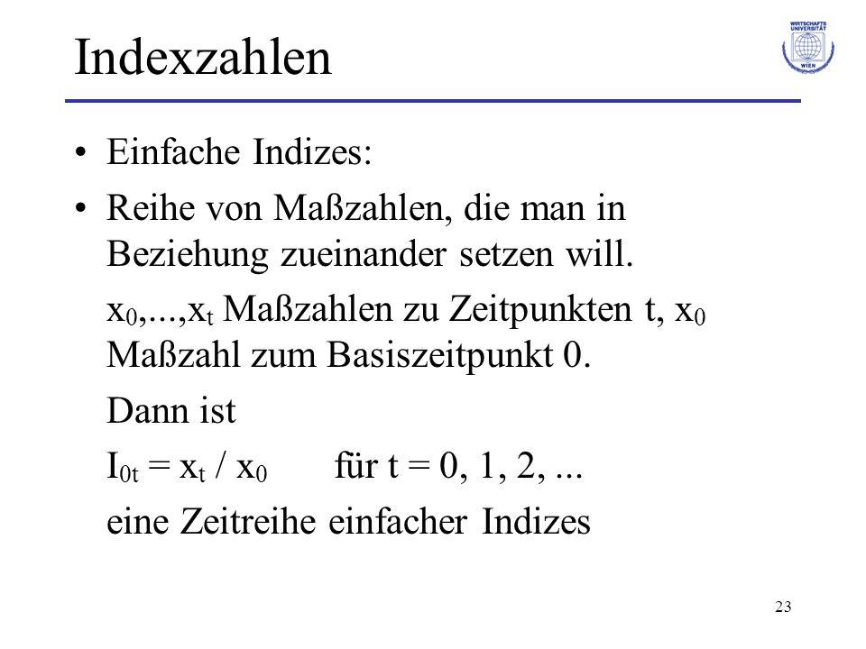 23 Indexzahlen Einfache Indizes: Reihe von Maßzahlen, die man in Beziehung zueinander setzen will. x 0,...,x t Maßzahlen zu Zeitpunkten t, x 0 Maßzahl