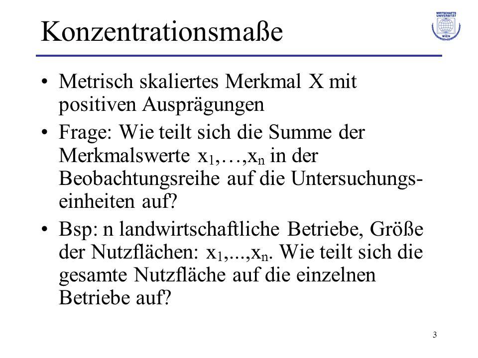 3 Konzentrationsmaße Metrisch skaliertes Merkmal X mit positiven Ausprägungen Frage: Wie teilt sich die Summe der Merkmalswerte x 1,…,x n in der Beoba
