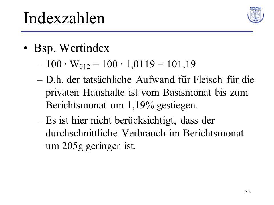 32 Indexzahlen Bsp. Wertindex –100 · W 012 = 100 · 1,0119 = 101,19 –D.h. der tatsächliche Aufwand für Fleisch für die privaten Haushalte ist vom Basis