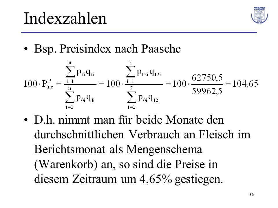 36 Indexzahlen Bsp. Preisindex nach Paasche D.h. nimmt man für beide Monate den durchschnittlichen Verbrauch an Fleisch im Berichtsmonat als Mengensch