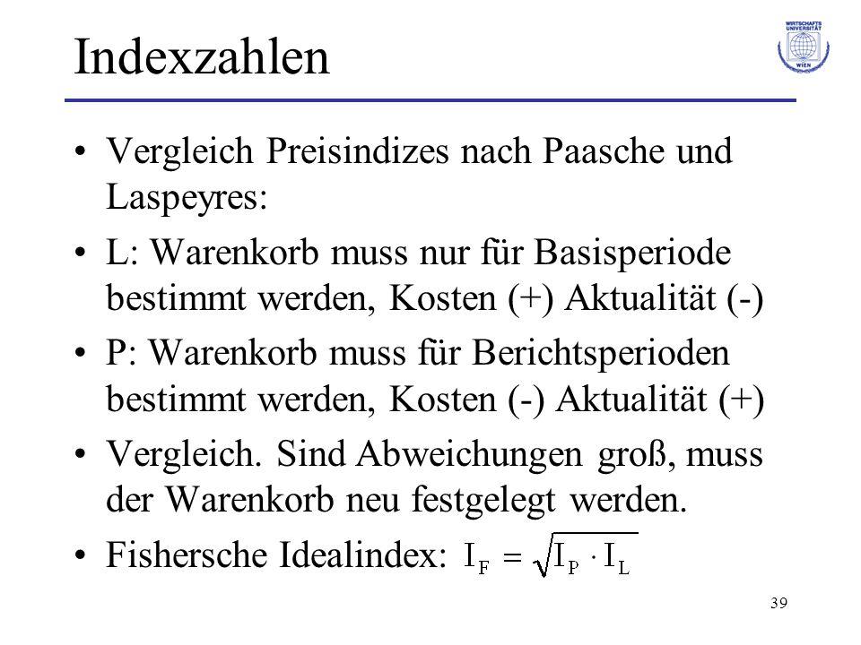 39 Indexzahlen Vergleich Preisindizes nach Paasche und Laspeyres: L: Warenkorb muss nur für Basisperiode bestimmt werden, Kosten (+) Aktualität (-) P: