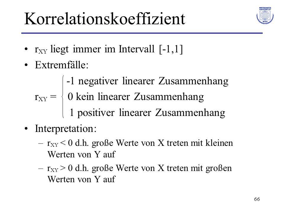 66 Korrelationskoeffizient r XY liegt immer im Intervall [-1,1] Extremfälle: -1 negativer linearer Zusammenhang r XY = 0 kein linearer Zusammenhang 1