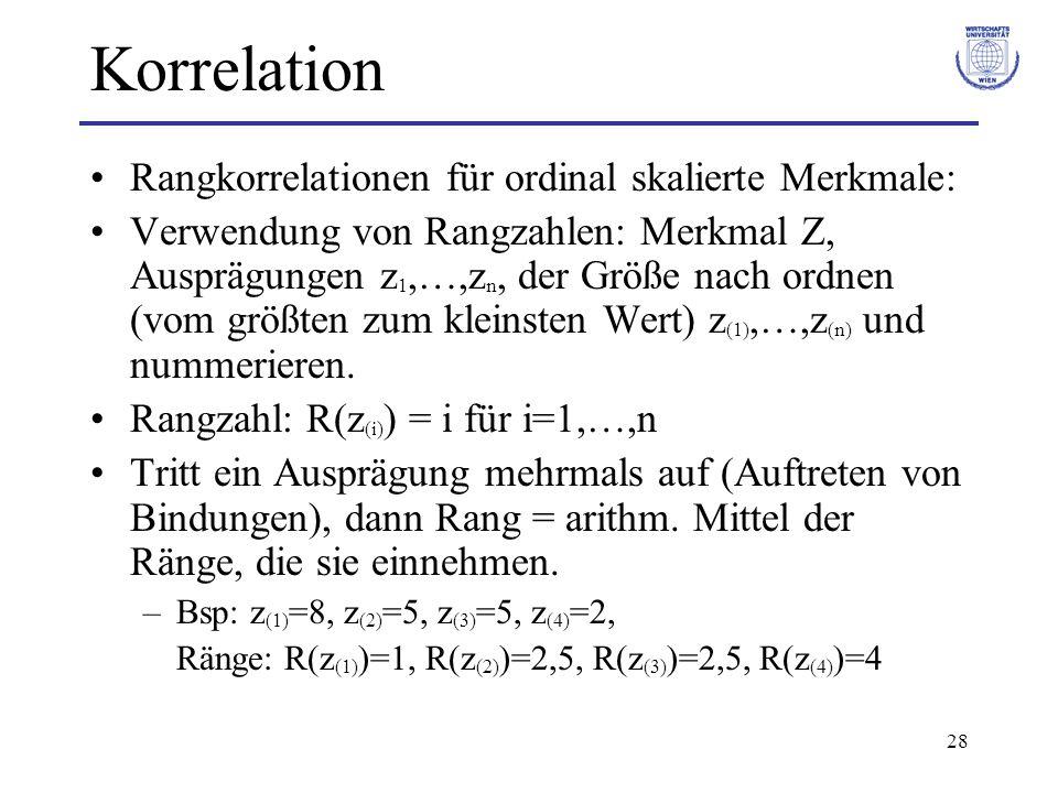 28 Korrelation Rangkorrelationen für ordinal skalierte Merkmale: Verwendung von Rangzahlen: Merkmal Z, Ausprägungen z 1,…,z n, der Größe nach ordnen (