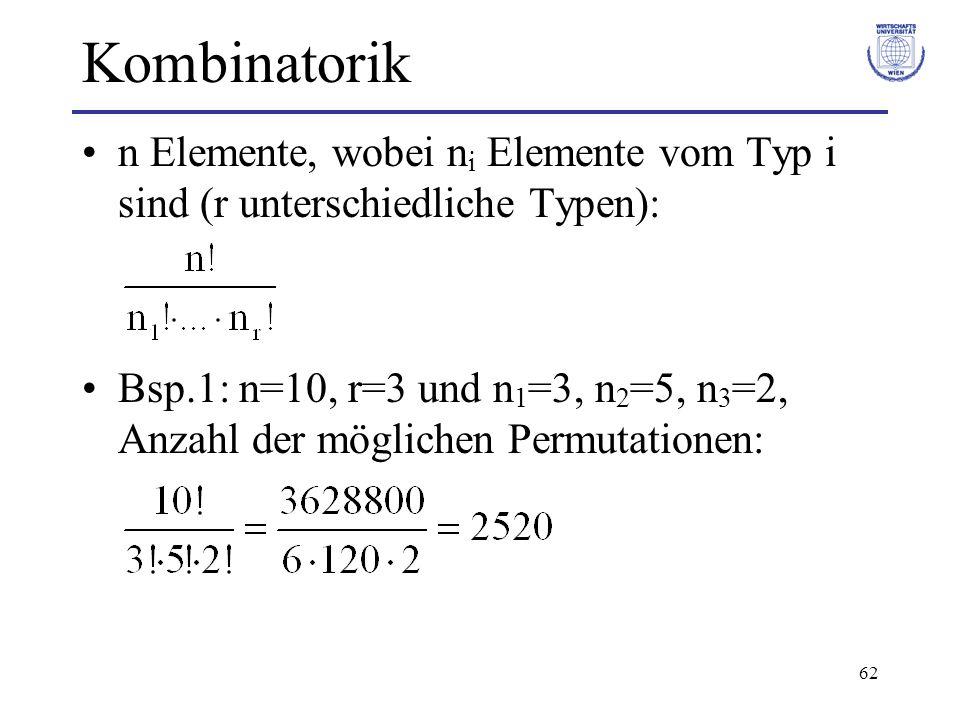 62 Kombinatorik n Elemente, wobei n i Elemente vom Typ i sind (r unterschiedliche Typen): Bsp.1: n=10, r=3 und n 1 =3, n 2 =5, n 3 =2, Anzahl der mögl