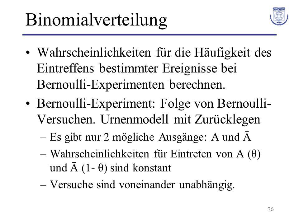 70 Binomialverteilung Wahrscheinlichkeiten für die Häufigkeit des Eintreffens bestimmter Ereignisse bei Bernoulli-Experimenten berechnen. Bernoulli-Ex