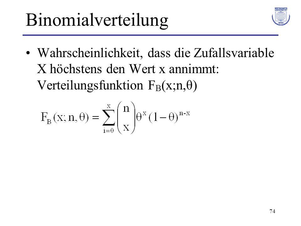 74 Binomialverteilung Wahrscheinlichkeit, dass die Zufallsvariable X höchstens den Wert x annimmt: Verteilungsfunktion F B (x;n,θ)