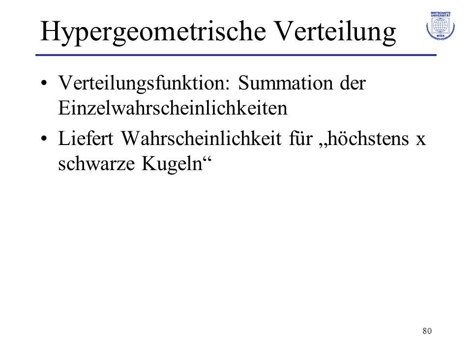 80 Hypergeometrische Verteilung Verteilungsfunktion: Summation der Einzelwahrscheinlichkeiten Liefert Wahrscheinlichkeit für höchstens x schwarze Kuge