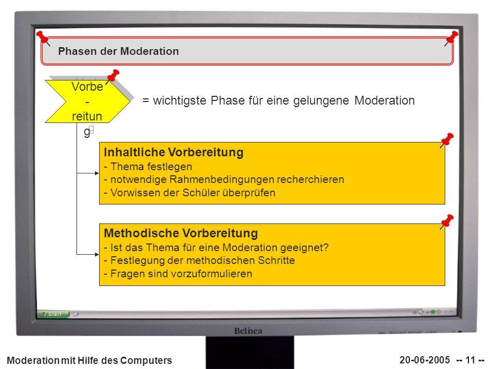 Moderation mit Hilfe des Computers 20-06-2005 -- 11 -- Phasen der Moderation Vorbe - reitun g Inhaltliche Vorbereitung - Thema festlegen - notwendige