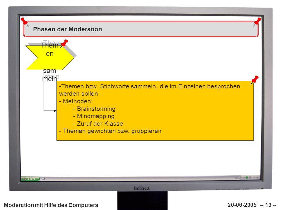 Moderation mit Hilfe des Computers 20-06-2005 -- 13 -- Phasen der Moderation Them en sam meln -Themen bzw. Stichworte sammeln, die im Einzelnen bespro